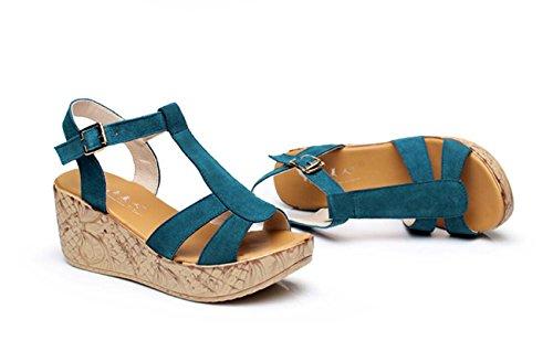 Zeppa DANDANJIE Tacco 41 blu Sandali Donna Taglia 34 da Piattaforma per Scarpe Estivi Similpelle R8rR0Zq