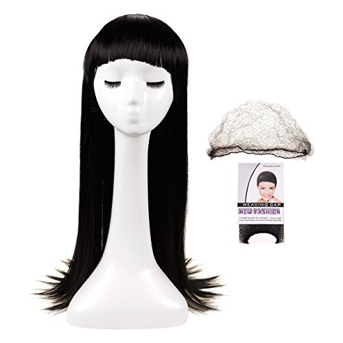 Long Black Wig - Adjustable Straight Hair Wig - Includes 2 Mesh Wig Caps - Great for Cosplay, 26 Inches, Black