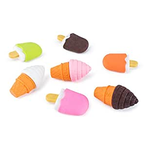Colorful Mini Ice Cream Cone Fudge Pop Frozen Treat Erasers for Children Party Favors, School Supplies, Toys (48 Pieces)