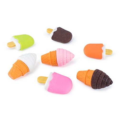Colorful Mini Ice Cream Cone Fudge Pop Frozen Treat Erasers for Children Party Favors, School Supplies, Toys (48 Pieces)]()