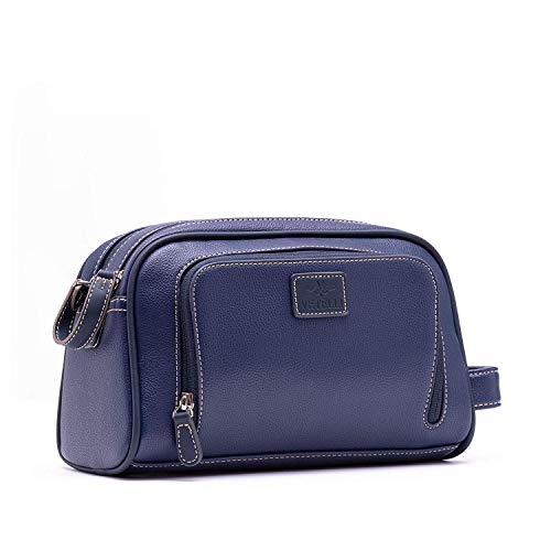 (Vetelli Gio Leather Toiletry Bag for Men - Dopp Kit - Handmade for Travelling Vacations and Adventures (Blue))