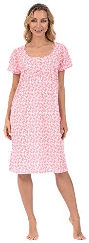 Knit Butterfly Gown - Pink Lady Women's Nightie Short Sleeve Pajama Gown (Pink Butterflies Medium)