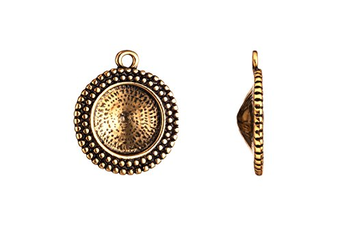 (Drop/ Pendant, Antique-gold Finished Beaded Round Frame Rivoli Setting 25.5x22mm Fits 16mm Rivoli and Shallow Pavilion Crystals)