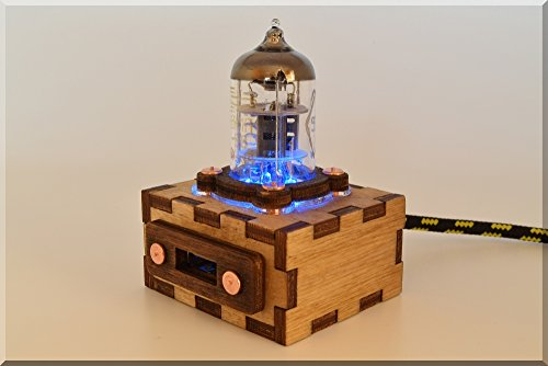 Handmade Wooden BLUE Pentode Radio Tube USB Cable Extention with Durable Knit Nylon Cable about 1m(3ft) long. Steampunk/Industrial style ####### (Tags: Wood Extention Prolongator Fallout Gadget )