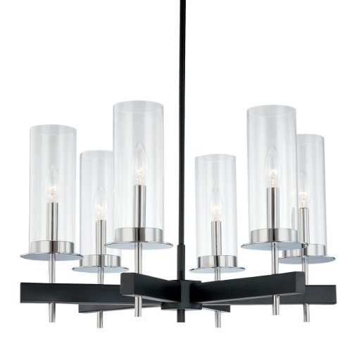 Sonneman 4066.54, Tuxedo Glass 1 Tier Chandelier Lighting, 6 Light, 120 Watts, Chrome/Black