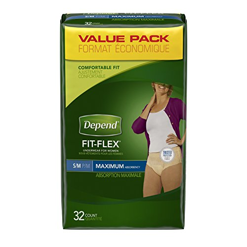 Depend FIT-FLEX Incontinence Underwear for Women, Moderate Absorbency, S/M, Packaging May Vary
