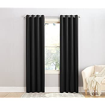 Sun Zero Barrow Energy Efficient Patio Door Curtain Panelblack 44017