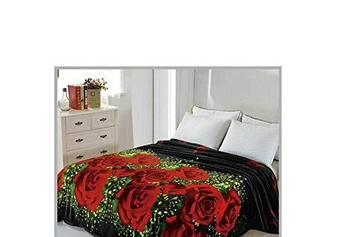 Original Solaron Korean Blanket Throw Mink Silky King Size Peach Roses Flowers Lightweight -