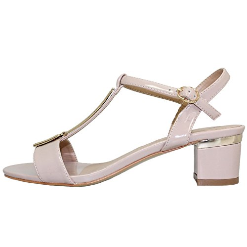 Sapphire Boutique @ JLH950 Buckle Ankle Strap Blaze 'T' Bar Padded Insole Synthetic Patent Sandals Nude qcFsrAY