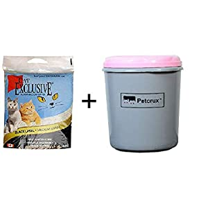 Intersand Cat Exclusive Scoopable Cat Litter, 10 kg with Petcrux Storage Container (Capacity 10 kg)