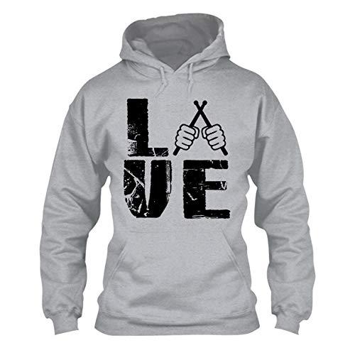 Love Drummer Long Sleeve Hoodie, Unisex Hoodies Grey,L