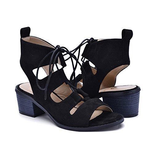Christian Womens Strap (Christian Lacroix Fiorenza Block Heel Ankle Strap Lace Canvas Sandal, Black, Size 7)