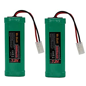 Mr.Batt NiMH High Capacity Rechargeable RC Battery for RC Car with Tamiya Connectors, Low-self Discharge(2-Pack)
