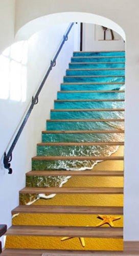 3d Beach Stars Tropical 18 Stair Risers Decoration Photo