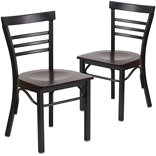 Flash Furniture 2 Pk. HERCULES Series Black Ladder Back Metal Restaurant Chair - Walnut Wood Seat