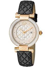 by Gevril Berletta Womens Diamond Swiss Quartz Black Leather Strap Watch, (Model: 1504)