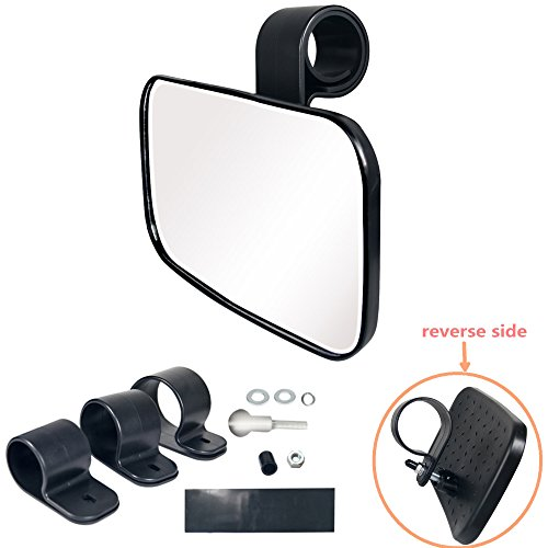 1 Center Mirror (Bestong 1 Pcs UTV Clear Rear View Center Mirror High Impact ABS Housing and Multi Clamps with Shatter-Proof Tempered Glass Mirror)