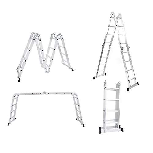 Yosoo 4.7M Skalierbare Leiter Multifunktionale Aluminium Teleskopleiter Mehrzweckleitern(15.5FT) & Super Angebot