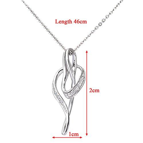 Revoni Bague en or blanc 9carats-Diamant 0,05cts Twist Pendentif et chaîne de 46cm