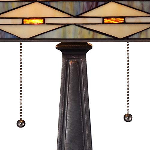 Mission Square Art Glass and Bronze Lamp with Table Top Dimmer - Robert Louis Tiffany