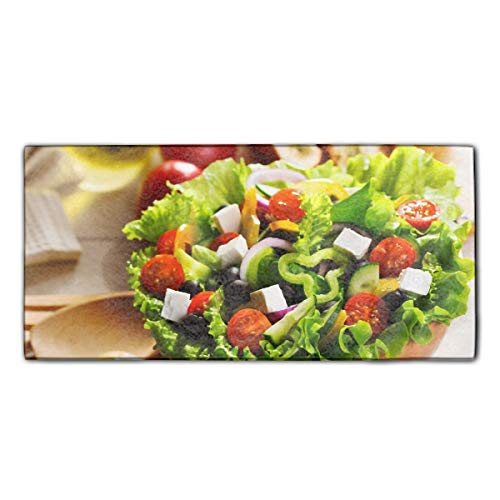 Salad Microfiber (Hair Towel, Ultra Absorbent & Fast Drying Microfiber Greek Salad Tomato Olives Peppers Onions Cheese Feto Shower Bath Towel)