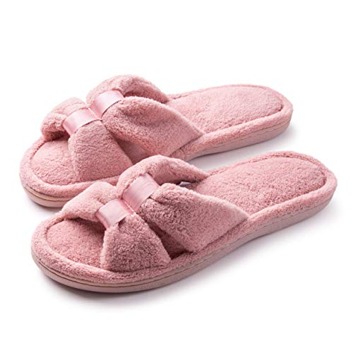 Roxoni Womens Terry Slippers; A Cozy Open Toe Spa Thong Flip