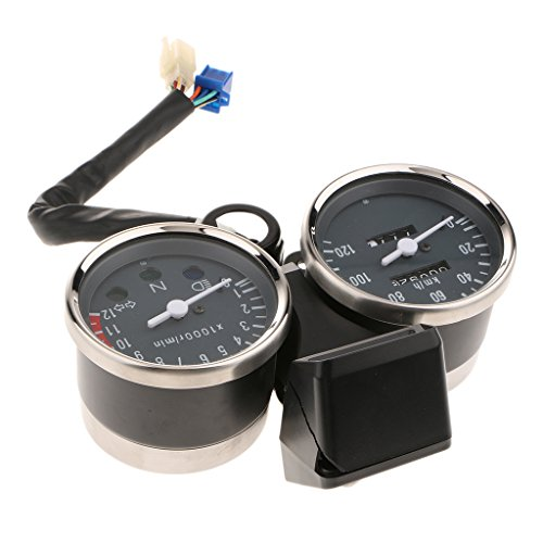 (Baoblaze Motorcycle Black Speedometer And Tachometer With Bracket For Suzuki GN 125)
