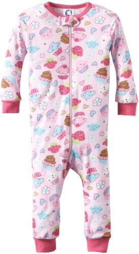 Gerber Baby Girls' 1 Piece Unionsuit Cupcake Shop Pajama
