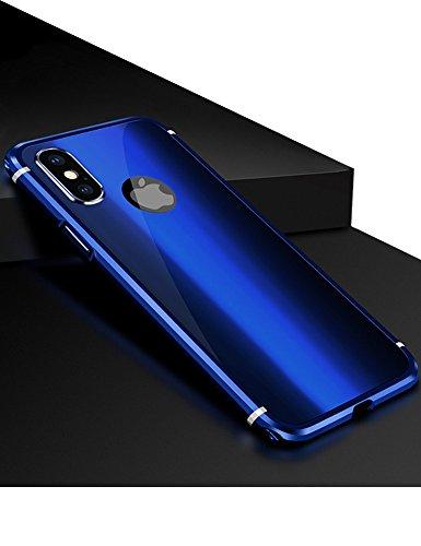 iPhone X Case KumWum Metal Aluminum Bumper Case PC Back Cover for iPhone 10 (iPhone X, Blue)