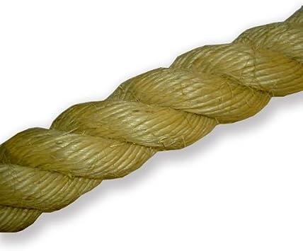 Cuerda natural sisal (36 mm) para patios, jardines, barcos, juegos de tira y afloja, escalada Por metro