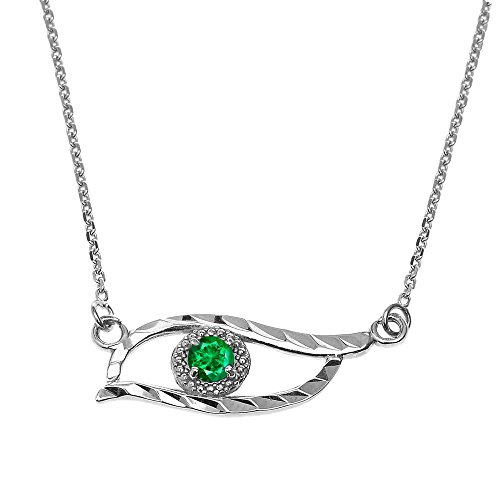 Fine 925 Sterling Silver Good Luck Green CZ Stone Evil Eye Pendant with 16