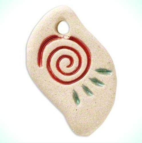 Freeform Life Spiral & Sun Rays Rustic Textured Ceramic 32mm Focal Pendant