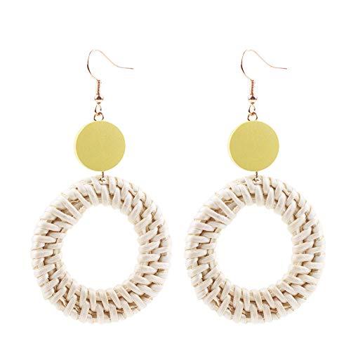 Toaimy Earings Wood Earrings Geometric Earrings Wooden Rattan Earrings For Women Statement Earrings -