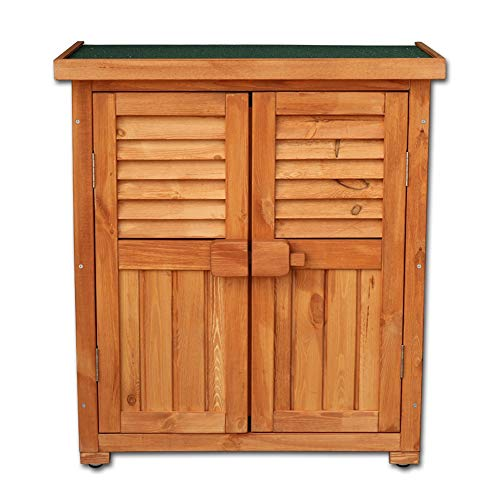 (YANGLIYU Plastic Garden Deck Box ,Outdoor Garden Balcony Farm Waterproof Sunscreen Anti-Corrosion Solid Wood Storage Locker Storage Compartment,85x42.5x69.5cm)