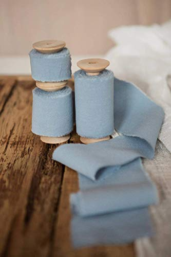 Gauze Ribbon - Dusty blue ribbon Cotton frayed edges hand dyed 2'' x 5 yards in roll Rustic wedding invitation ribbon, favors wrap and bouquet supplies