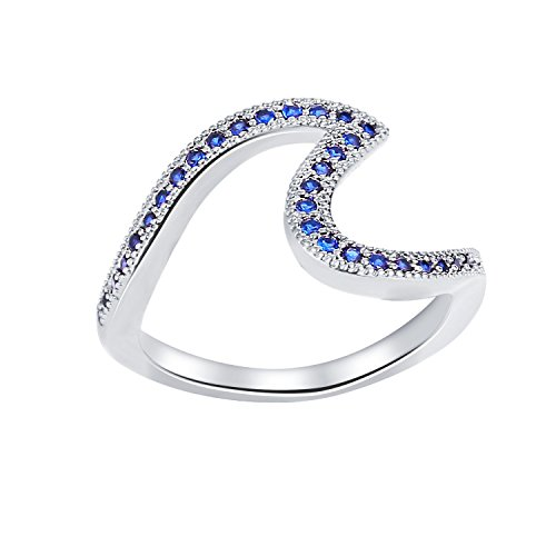 77Fine Size 6 Silver Blue Zircon Ring Blue Wave Ring CZ Dainty Rings Cubic Zirconia Band Ring Cute Statement Fashion Stack Ring for Women ()