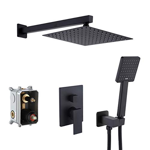 KES Pressure Balancing Rain Shower System Rough-in Valve Trim Kit Shower Faucet Complete Set Square Matt Black, XB6230-BK (Best Affordable Paint Sprayer)