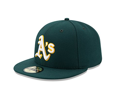 New Era Men's Oakland Athletics Road AC On Field 59Fifty, Green, 7 1/4 - Oakland Athletics Water