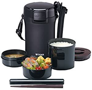 Tiger thermos thermal insulation lunch box stainless steel lunch jar bowl about 4 cups of black LWU-A202-KM Tiger