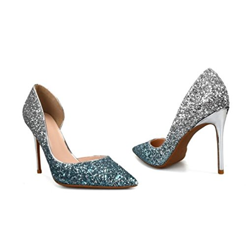 Heels Bleu Escarpins Aiguille Femmes High Talon Argent Chaussures Stilettos de vr0aP8nv