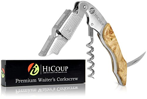 Professional Waiter's Corkscrew by HiCoup - Bai Ying Wood Handle All-in-one Corkscrew, Bottle Opener and Foil Cutter, The Favored Choice of Sommeliers, Waiters and Bartenders Around The World