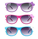 Newbee Fashion - Kyra Kids Retro Hello Kitty w/Bow and Whiskers Lead-Free Girl Sunglasses (0-5 Years)