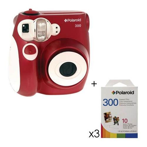 Polaroid Pic 300 Instant Camera, Analog - Red Kit, with 3 - Packs of Polaroid 300 Instant Film