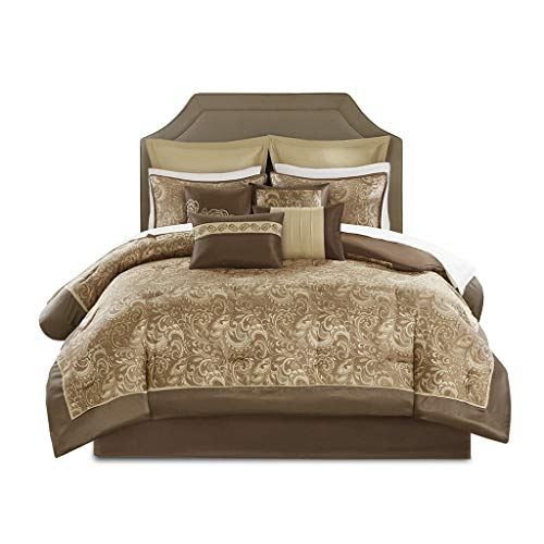 Madison Park Essentials Brystol 24 Piece Room in a Bag Faux Silk Comforter Jacquard Paisley Design Matching Curtains - Down Alternative Hypoallergenic All Season Bedding-Set, Cal King, Brown