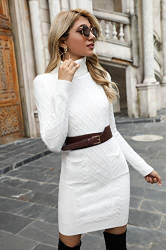 Irevial Womens Long Sleeve Turtle Neck Bodycon Cable Twist Knitted Jumper Knitwear Sweater Dress