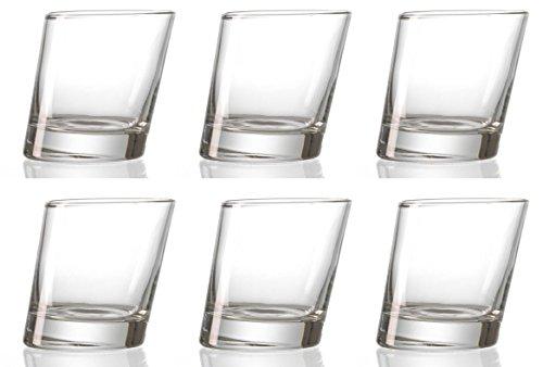 idea-station Pisa Whiskey-Gläser 6 Stück, bis max. 280 ml transparent im modernen Design, 6-teiliges Tumbler Glas-Set für Bourbon, Rum, Cognac, Brandy oder auch als Wasser-Gläser, Cocktail-Gläser, Longdrink-Gläser