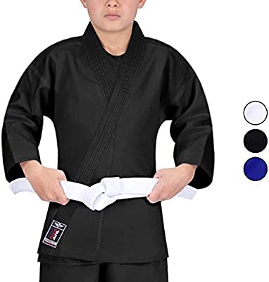 Kung Fu Gi Top Uniform Shirt Youth Adult Size White Black with Green or Red Trim