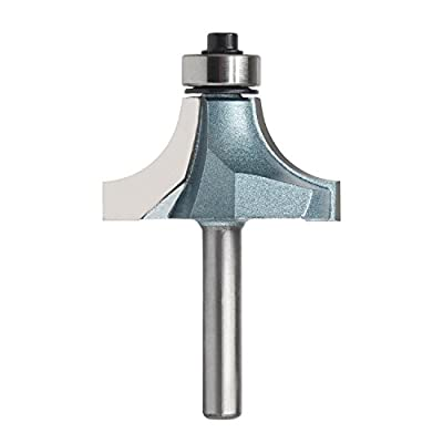 """EnPoint Woodworking Solid Carbide Top Ball Bearing Beading Router Bit 1/4"""" Shank 1"""" Radius Cutter 3/4"""" Cut Height Industrial Quality Rounding Over Fillet Ball Bearing Guide Edging Router Bit by EnPoint"""