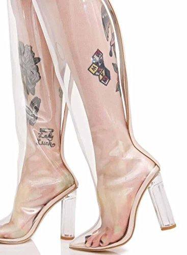 GLTER Frauen transparente Schenkel High Boot 2017 Herbst New Rough Heel spitze europäischen Stil Knie Stiefel