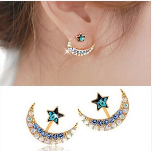 Moon Star Shaped Crystal Rhinestone Earrings Charming Party Stud Ear ()